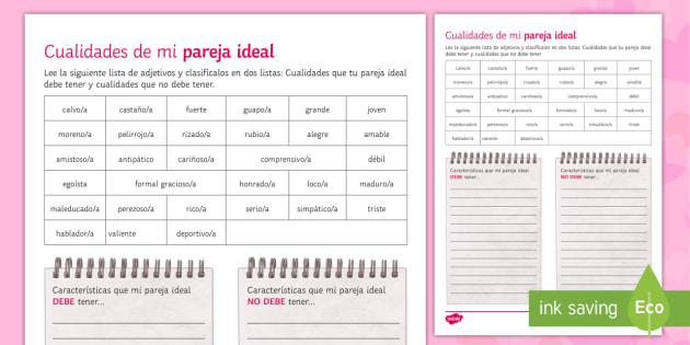 My Ideal Partner Characteristics Activity Sheet - Valentines Day, 14th February, adjectives, descriptions, ideal, partner, characteristics, worksheet
