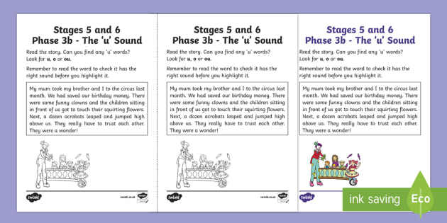 Linguistic Phonics Stage 5 and 6 Phase 3a, 'u' Sound Activity Sheet
