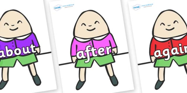 KS1 Keywords on Humpty Dumpty - KS1, CLL, Communication language and literacy, Display, Key words, high frequency words, foundation stage literacy, DfES Letters and Sounds, Letters and Sounds, spelling
