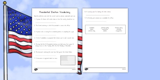 Presidential Election Vocabulary Activity Sheet, worksheet