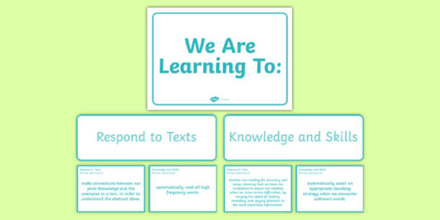 New Zealand Reading End of Year 6 We are Learning Display Pack