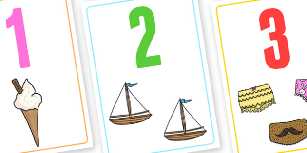 Number Flashcards - number, flashcards, number cards, cards with numbers, display cards, display numbers, maths aids, visual aids, number aids, counting