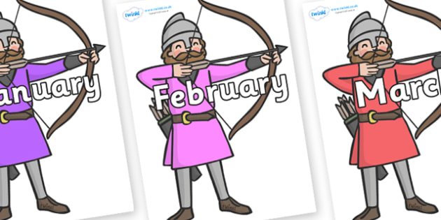 Months of the Year on Archers - Months of the Year, Months poster, Months display, display, poster, frieze, Months, month, January, February, March, April, May, June, July, August, September