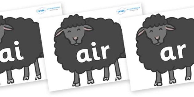 Phase 3 Phonemes on Baa Baa Black Sheep - Phonemes, phoneme, Phase 3, Phase three, Foundation, Literacy, Letters and Sounds, DfES, display