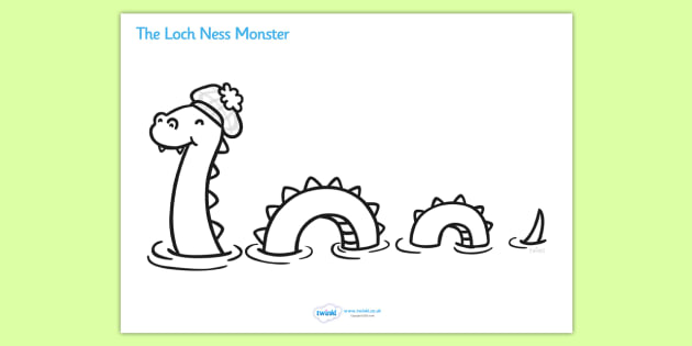 Loch Ness Monster Colouring Sheet - Loch Ness, Loch Ness Monster, Scotland, monster, colouring, fine motor skills, poster, worksheet, vines, A4, display, lake, does it exist, Scottish Highlands, Niseag, dinosaur-like, existence