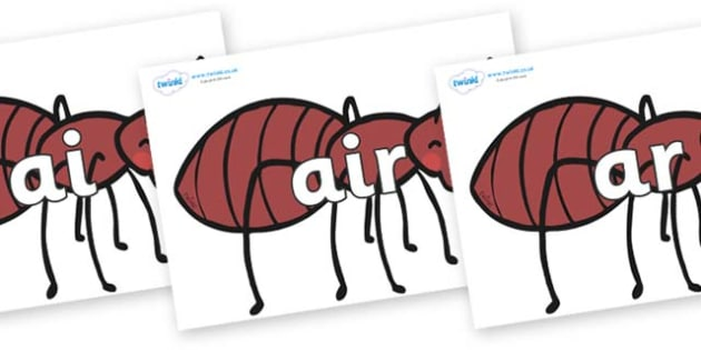 Phase 3 Phonemes on Ants - Phonemes, phoneme, Phase 3, Phase three, Foundation, Literacy, Letters and Sounds, DfES, display
