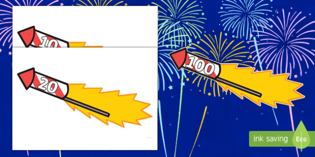 Counting in 10s to 100 on Firework Rockets Cut-Outs