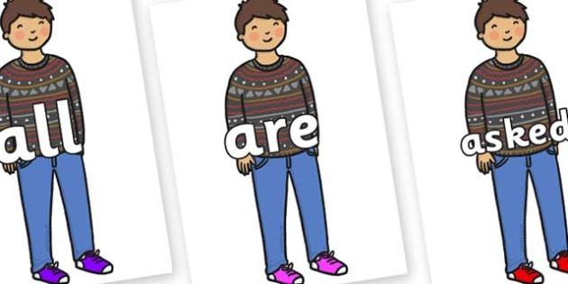 Tricky Words on Little Boy - Tricky words, DfES Letters and Sounds, Letters and sounds, display, words