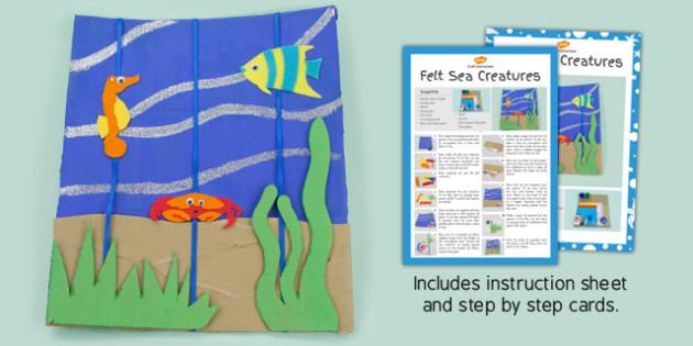 Felt Sea Creatures Picture Craft Instructions (Under the Sea) - craft, sea, felt
