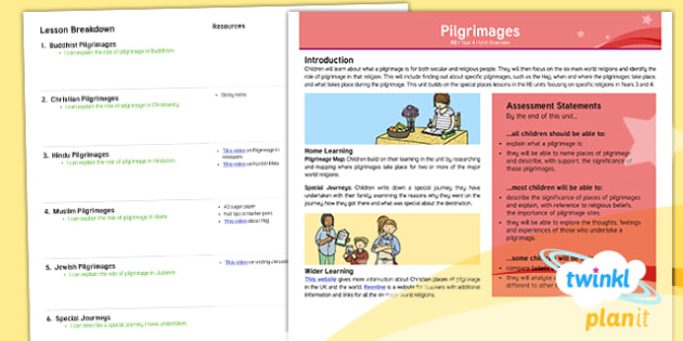 PlanIt - Year 4 - Pilgrimages Planning Overview  - Religion, religious, pilgrimage, secular, journey, Hinduism, Christianity, Islam, Judaism, Buddhism,