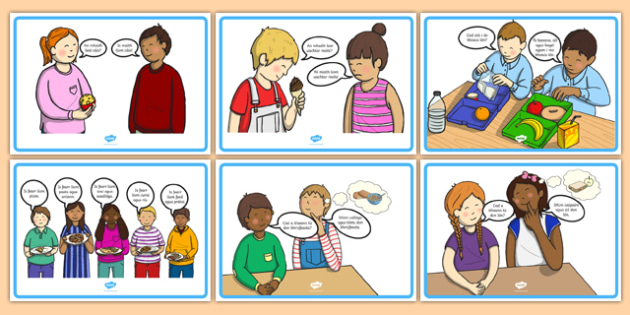 Gaeilge Bia Conversation Posters - talking, speaking and listening, lunchtime, food, dinner,
