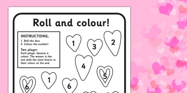 Valentines Roll Worksheet - valentines, roll, worksheet, day