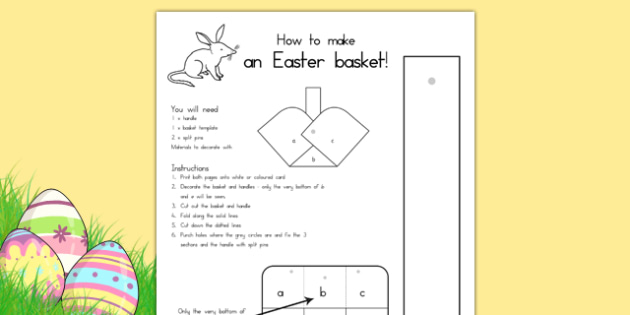 Easter Basket Template - easter, easter crafts, easter games