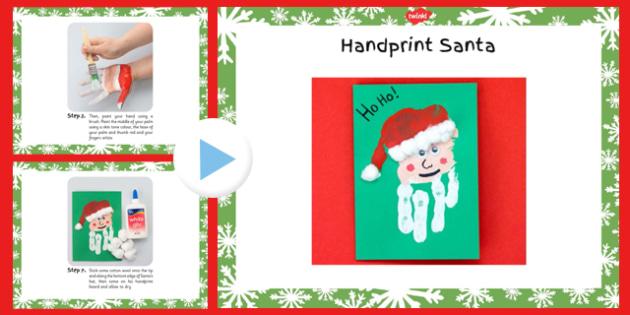 Handprint Santa Craft Instructions PowerPoint - handprint, santa, craft, instructions, powerpoint