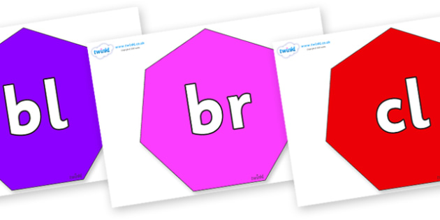 Initial Letter Blends on Heptagons - Initial Letters, initial letter, letter blend, letter blends, consonant, consonants, digraph, trigraph, literacy, alphabet, letters, foundation stage literacy