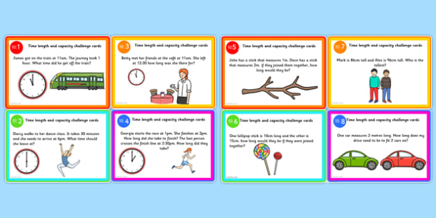 Time Length and Capacity Problem Solving Challenge Cards Editable