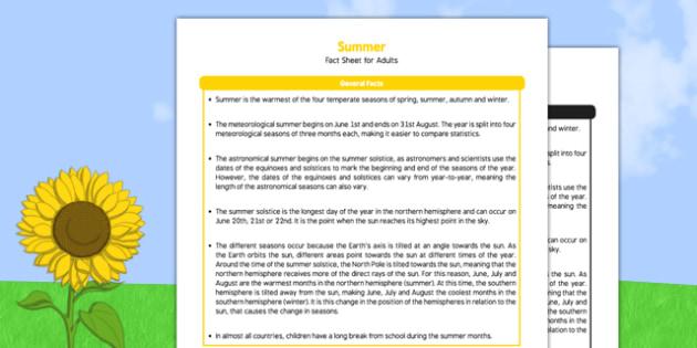 Summer Fact Sheet for Adults - summer, seasons, fact sheet, adults