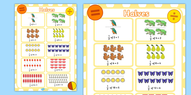 Half of Quantity Fractions Display Poster KS1 Year 1 - display poster