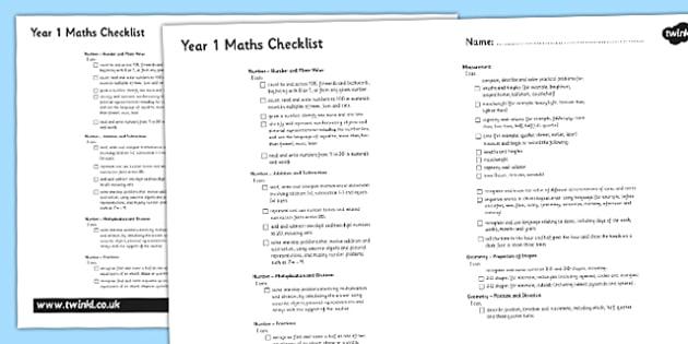2014 Curriculum Year 1 Maths Assessment Checklist - targets, math