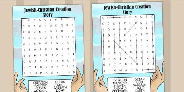 Jewish Christian Creation Story Wordsearch - judaism, christian