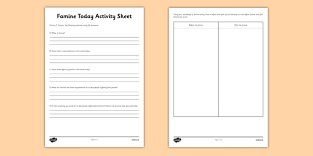 Famine Today Activity Sheet - Famine, Today, Modern, questions, comprehension, activity sheet, worksheet