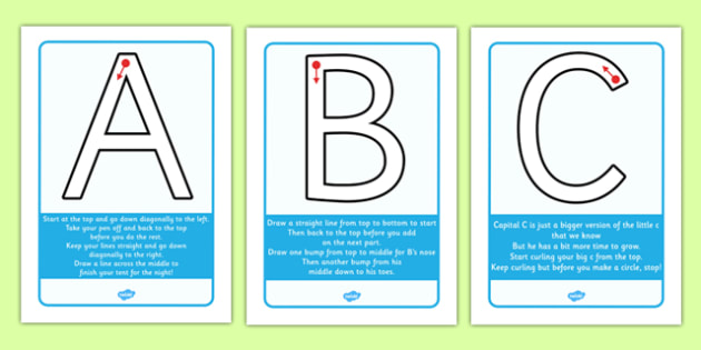 Letter Formation Rhyme Display Posters Uppercase - letter formation, rhyme, display, posters