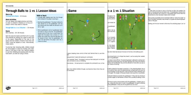UKS2 Football Skills 5 Through Balls to 1 vs 1 Lesson Pack - football, PE, sport, exercise, KS2, UKS2, Key Stage 2, year 5, year 6, skills, physical education, ball skills, team sports