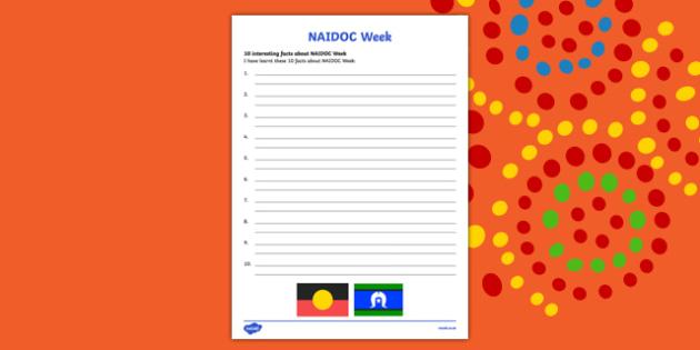 NAIDOC Week - 10 Interesting Facts Activity Sheet, worksheet
