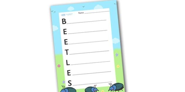 Beetles Acrostic Poem - acrostic poems, acrostic poem, beetles, beetle, beatle, beetle acrostic poem template, beetles acrostic poem writing frame, beetles poem, beetles poetry, acrostic, poem, poetry, literacy, writing activity, activity