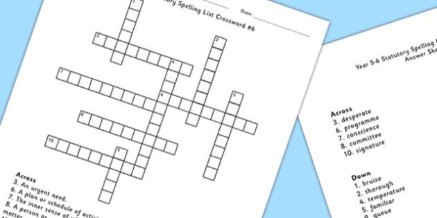 Year 5-6 Statutory Spelling List Crossword 6 - spell, crossword