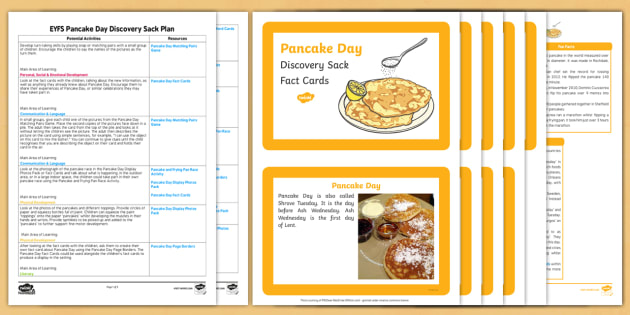 EYFS Pancake Day Discovery Sack Plan and Resource Pack - shorve Tuesday, shorve Tuesday, pancake day, sack
