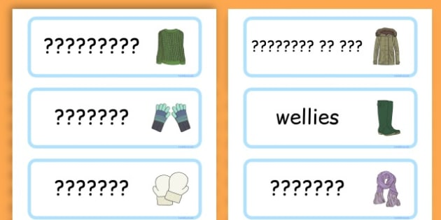 Winter Clothes Word Cards - winter clothes, word cards, winter, clothes - Hindi