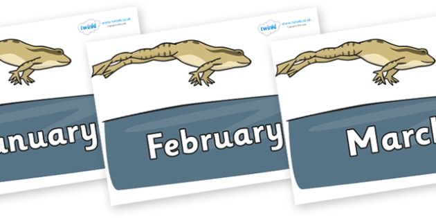 Months of the Year on Frog - Months of the Year, Months poster, Months display, display, poster, frieze, Months, month, January, February, March, April, May, June, July, August, September