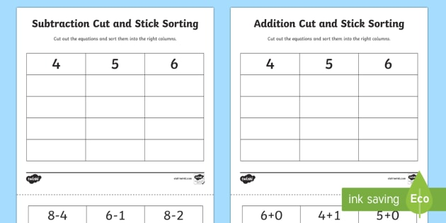 4 6 Addition and Subtraction Cut and Stick Activity - addition, cut, stick, cut and stick, addition worksheet, cut and stick activity, adding, plus, add, maths, numeracy