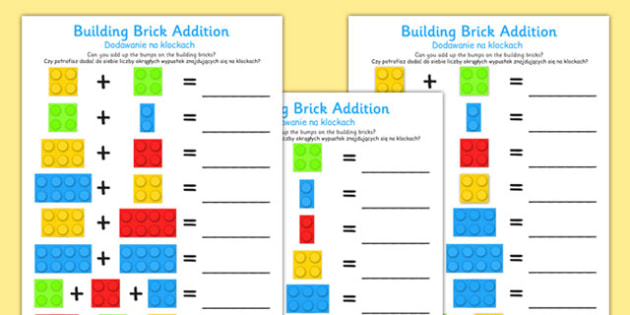 Building Brick Addition Worksheet Polish Translation - polish, building brick, addition, worksheet
