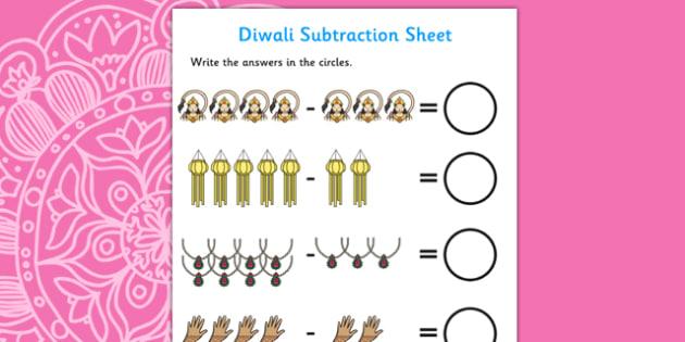 Diwali Subtraction Worksheet - diwali, subtraction, worksheet