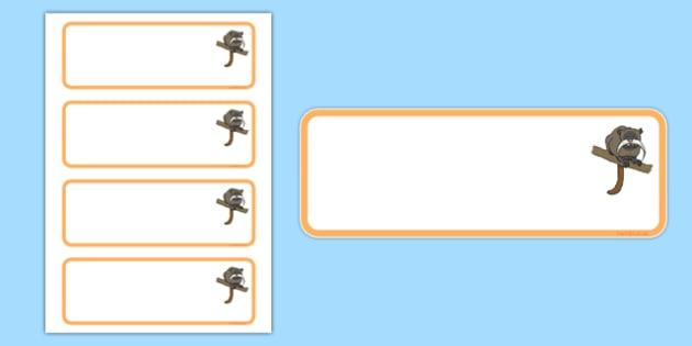 Tamarin Themed Editable Draw Peg Name Labels - tamarin, editable, drawer, peg, name, labels, display