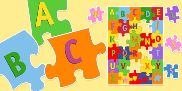 Large Alphabet Jigsaw - alphabet, jigsaw, activity, puzzle, game