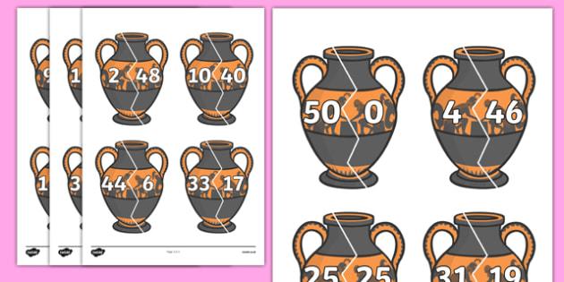 Number Bonds to 50 on Ancient Vases - number bonds, history number bonds, number bonds on greek vases, number bonds to 50, ks2 number bonds, ks2 history