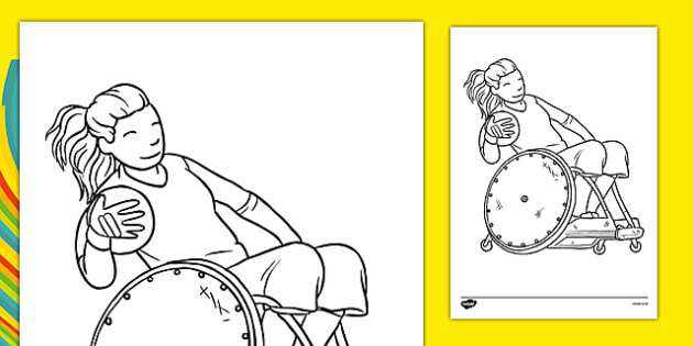 The Paralympics Rugby Colouring Sheets - Rugby, Paralympics, sports, wheelchair, visually impaired, colouring, fine motor skills, poster, worksheet, vines, A4, display, 2012, London, Olympics, events, medal, compete, Olympic Games