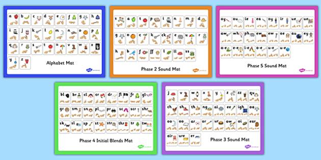 Alphabet and Phase 2-5 Sound Mats with British Sign Language