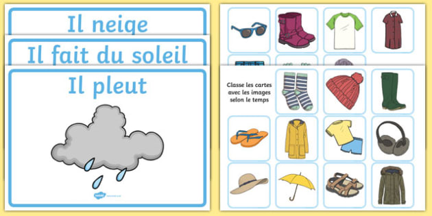Weather Clothes Sorting Activity French - french, clothes sorting activity, weather and the seasons, clothes, weather, seasons, clothes sorting, weather conditions