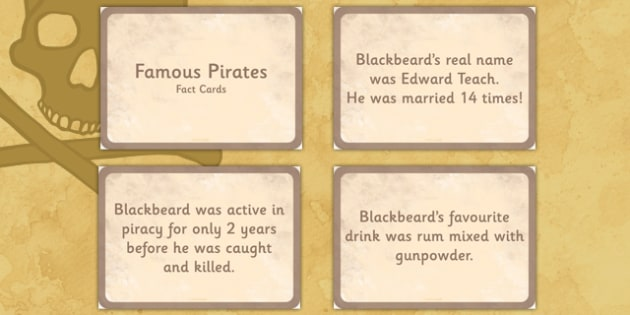 Famous Pirates Display Fact Cards - pirates, fact cards, display