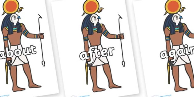 KS1 Keywords on Egyptian Figures - KS1, CLL, Communication language and literacy, Display, Key words, high frequency words, foundation stage literacy, DfES Letters and Sounds, Letters and Sounds, spelling