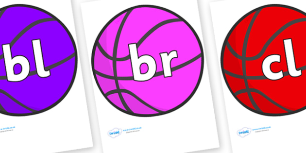 Initial Letter Blends on Basketball - Initial Letters, initial letter, letter blend, letter blends, consonant, consonants, digraph, trigraph, literacy, alphabet, letters, foundation stage literacy