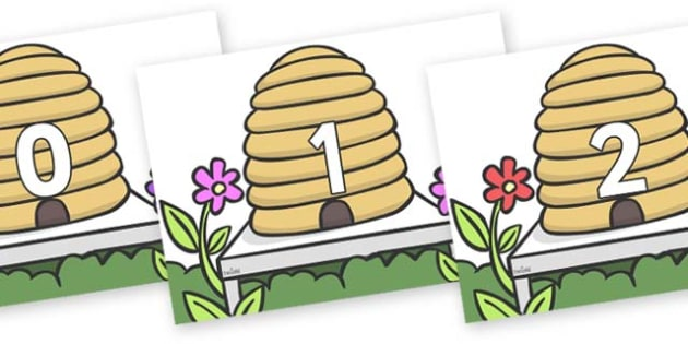 Numbers 0-31 on Beehives - 0-31, foundation stage numeracy, Number recognition, Number flashcards, counting, number frieze, Display numbers, number posters
