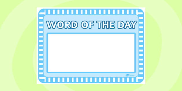 Word of The Day Sheet - word of the day, sheet, word, day, display