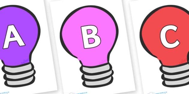 A-Z Alphabet on Lightbulbs (Multicolour) - A-Z, A4, display, Alphabet frieze, Display letters, Letter posters, A-Z letters, Alphabet flashcards