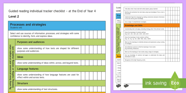 New Zealand End of Year 4 Reading Individual Tracker Checklist - individual tracker, assessment, End of Year 4, reading