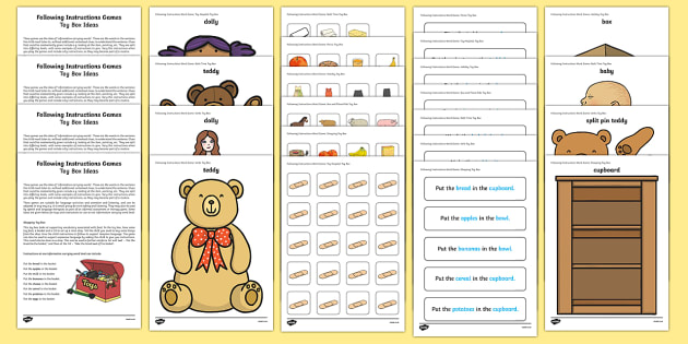Two ICW Toy Box Activity Sheet - ICW, information carrying words, early years language activities, receptive language, Derbyshire Lan